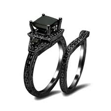 black wedding sets engagement rings