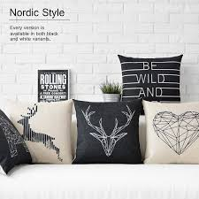 free shipping black and white geometric simplicity nordic deer