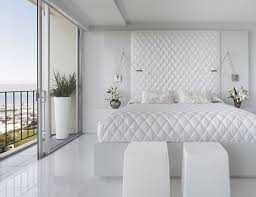 ultra modern white bedroom decor with nice unique pendant light