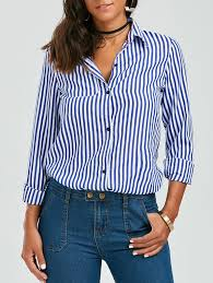 striped blouse stripes sleeve formal shirt in blue and white s