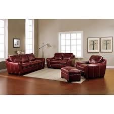 burbank 4 piece top grain leather living room set