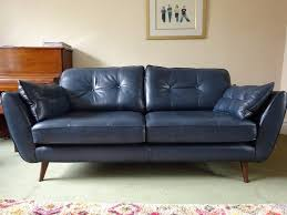 Blue Leather Sofa by Dfs French Connection Zinc Blue Leather 3 Seater Sofa Only 4