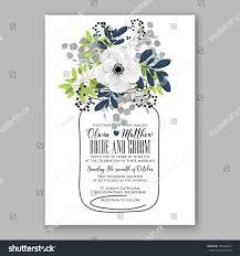 Marriage Invitation Card Templates Anemone Wedding Invitation Card Template Floral Stock Vector