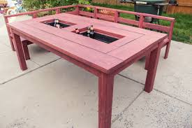 Build Outside Wooden Table by Patio Table With Built In Ice Boxes How To Build Youtube