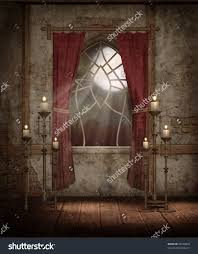 castle chamber with a window and candelabras stock photo 38250835