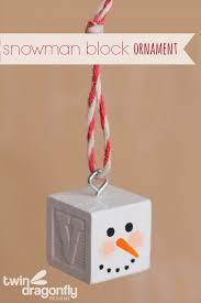 snowman block ornament dragonfly designs