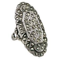 vintage sterling rings images Vintage sterling silver marcasite ring sold ruby lane jpg