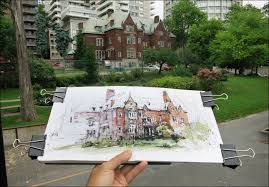 step by step drawing example davis house dot plot urban sketchers