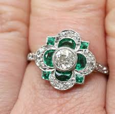 cluster rings deco emerald diamond cluster ring at 1stdibs