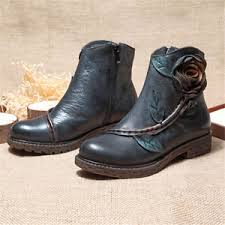 zipper boots s socofy s handmade roses ankle leather boots comfy zipper