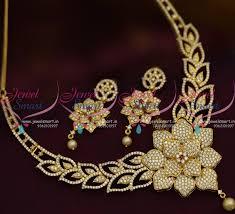 big gold necklace set images Nl9263 latest big floral design pendant sparkling white stones cz JPG