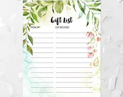 gift list gift list pink etsy