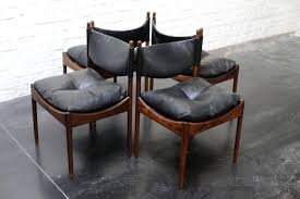 Black Leather Chairs Mid Century Danish Rosewood U0026 Black Leather Chairs By Kristian