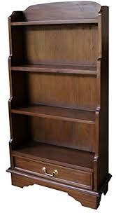 3 shelf narrow bookcase 3 shelf small solid mahogany waterfall bookcase h130 x w60 x d22cm