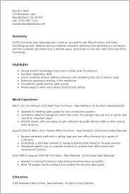 Resume Templates  Furniture Sales Associate