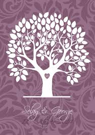 alternative guest book purple damask signature tree alternative guest book