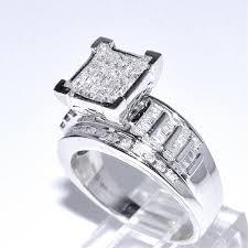 Princess Cut Diamond Wedding Rings by Amazon Com 1cttw Diamond Wedding Ring 3 In 1 Style Sterling