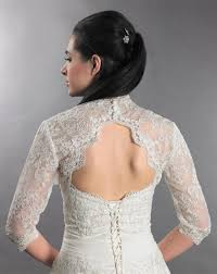 tulip bridal 3 4 sleeve ivory lace bolero jacket with keyhole back