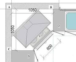 exemple plan de cuisine implantation évier en angle plaque cuisson en angle armoire en