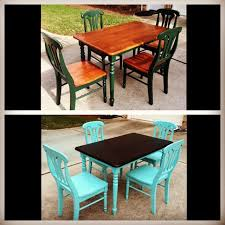 diy refurbished dining room table used valspar