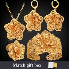 aliexpress buy new arrival 18k real gold plated aliexpress buy 18k real gold plated flower jewelry set ring