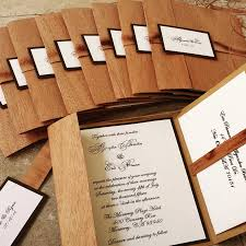 Wedding Invitation Folded Card Wooden Pocket Fold Rustic Wedding Invitation Organic Invitation