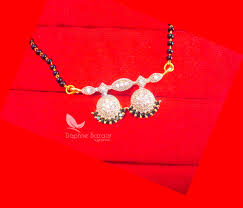 Best Gift For Wife 2017 T66 Daphne Black Zicon Sleek Mangalsutra For Women