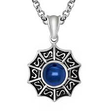 blue stainless steel necklace images Men 39 s stainless steel round sapphire blue pearl zircon pendant 24 jpg