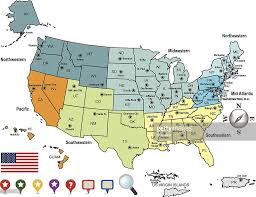 Image Of United States Map Colored Map Of The United States Of America And Territories Vector
