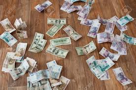 Dollar Floor by Dollar And Ruble Banknotes Scattered On The Floor Stock Photo