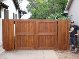 Double Swing Wrought Iron Frame With Wood Overlay Double Swing Gates Diaz Gates