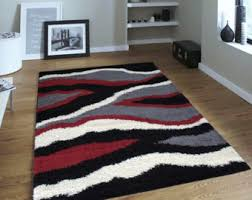 Black And Red Shaggy Rugs Shaggy Rug Etsy