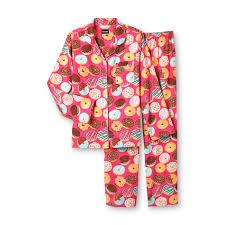 joe boxer women u0027s 2 piece flannel pajama set doughnuts