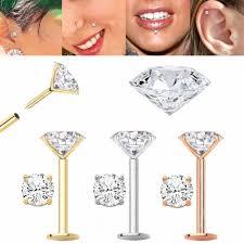 diamond helix stud diamond cartilage tragus helix earring stud 16g 18g