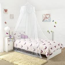 princess white single bed canopy with decorative silver binding white bed canopy with silver binding on ruffled layers with center opening suitable for single bed measurements