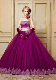 strapless applique lace with crystals purple wedding dress with