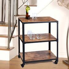 Metal And Wood Sofa Table by Mind Reader Charm U0027 3 Tier Wood And Metal Utility Cart U0026 Reviews