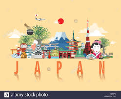 wonderful japan travel poster design in flat style stock vector