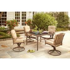 Patio Dining Set by Hampton Bay Eastham 5 Piece Patio Dining Set With Beige Cushions