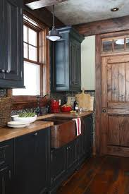 Black Distressed Kitchen Cabinets Primitive Painted Kitchen Cabinets