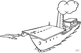 jet is taking off from aircraft carrier coloring page free