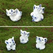 home decoration accessories elephant figurines ceramic small blue