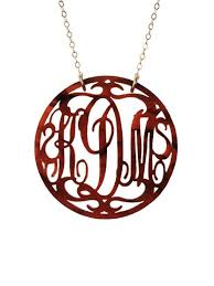 acrylic monogram necklace rimmed script monogram necklace
