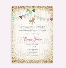 carousel birthday invitation red mint green pink gold