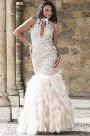 sleeveless long mermaid dress with a keyhole opening and feather