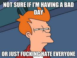 Having A Bad Day Meme - not sure if i m having a bad day or just fucking hate everyone