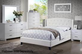 White Leather Bed StealASofa Furniture Outlet Los Angeles CA - White leather queen bedroom set
