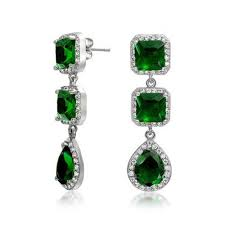 emerald green earrings color cz princess cut teardrop chandelier earrings