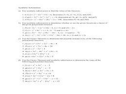 synthetic division worksheet u0026 dividing polynomials synthetic