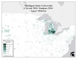 Michigan State University Map by Student Demographics U2014 University Licensing Programs